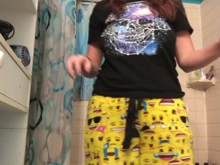 Dirty sluts plays with toys and smokes in shower
