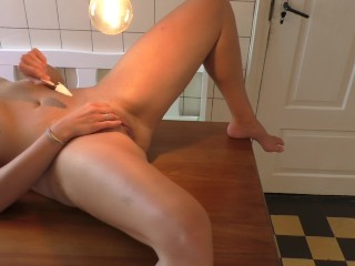 Fucked And Glazed On The Kitchen Table - Hot MILF, Huge Load of Cum Cumshot