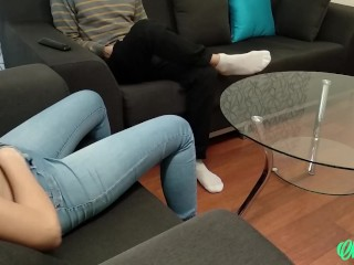 Ripped her jeans and fucked a teen after footjob