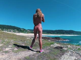 Naked Russian girl Sasha Bikeyeva dancing on the shore of the ocean 4k