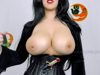 Goth Sexy milf Elvira Immense Boob Jerk Off Instructions Messy Chats