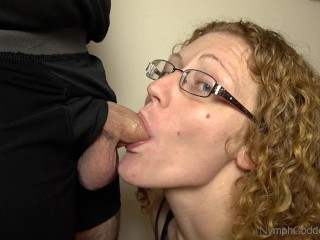 Redhead MILF Ivy learning to deep throat Hubby's cock