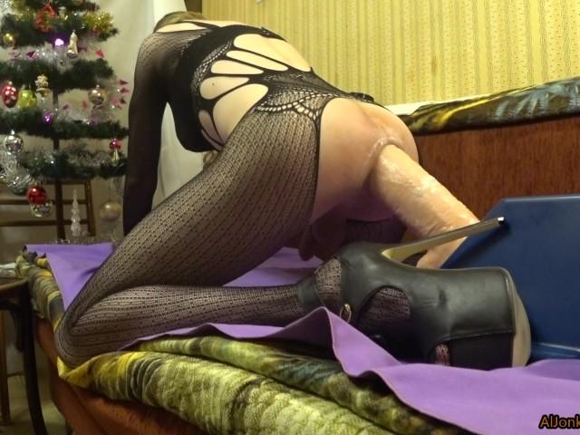 Anal Dildo Riding Stockings
