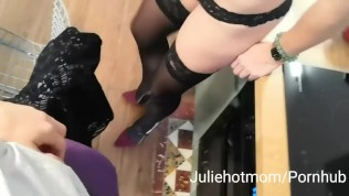 stepmom kitchen, the wife of my dad suck my big cock
