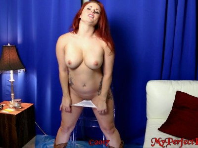 Country Girl in Cowboy Boots & Daisy Dukes Strips, Rides a Dildo, & Squirts