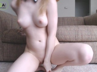 shy girl rides dildo and cums for you