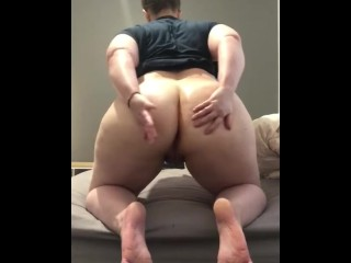PAWG rides her vibrator with anal plug and cums