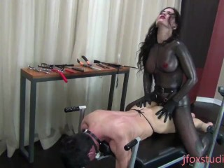 lifestyle domme pegging her caged prostitute