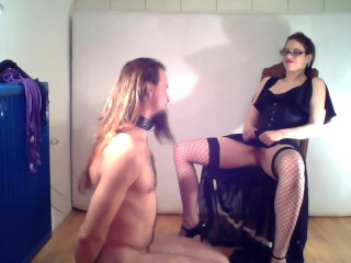 Dominatrix trains her slave for the 1st time