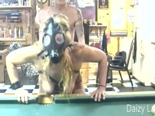 Mature Daizy Layne gets from behind Fucked wearing Gas Mask on Pool Table