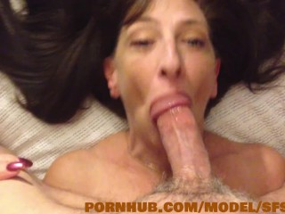 Hot Step Hot mom slurps the cum out of piano mans colossal dick
