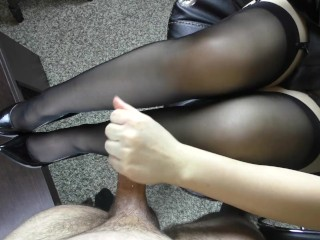 Young Handjob on her feet in stockings - Foot fetish, cum on feet