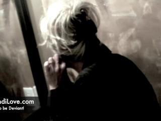 Voyeur watches Brandi Love masturbate in the bathroom