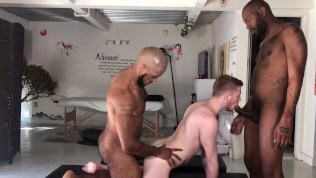 White twinky boy gets pounded by two BBCs