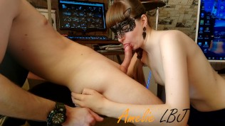 AmelieLBJ sucks my cock and swallows cum