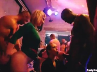 Sexy milf fucked in club orgy with bbc