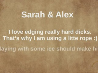 Edging bound cock handjob with oil and ice to a ruined orgasm - Sarah&Alex
