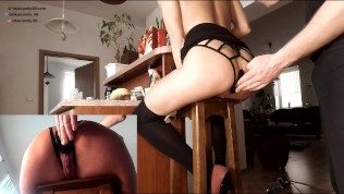 Amateur brunette babe anal – Ass fucked hard and anal toyed on a bar stool