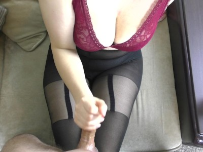 Amateur Teen Big Tits Handjob on Her Sexy Pantyhose - Cum on Tights
