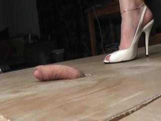 Cigarette and cock crushing shoejob Huge cum shot