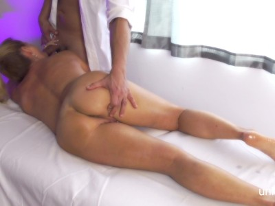 Bubble Butt Blonde has massage sex and gets a Cum Geyser Happy Ending