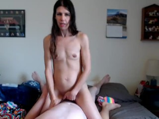 sexy MILF rides my cock on webcam like a good little cowgirl w/ creampie