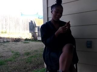 SweetButtTasty smoking and fingering herself in the backyard!!!!!