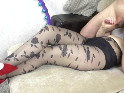 Young Schoolgirl Handjob on Her Feet in Pantyhose - Cum Panties