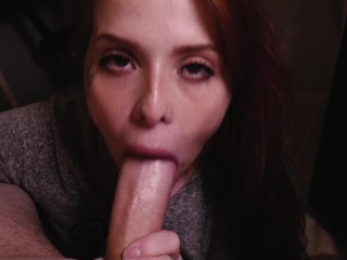 Cute Redhead Girl sucking a big dick and swallowing all the cumshot.