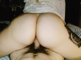 Young big ass white girl rides dick reverse cowgirl and gets creampied