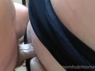 Fucked My Wife's Thighs and Shot My Load Into Her Black Panties | Pov