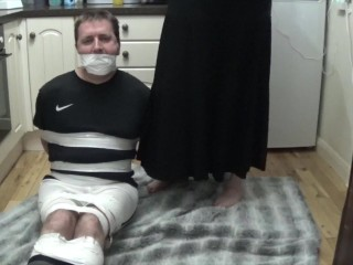 Footballer bound and gagged tight in duct tape 2