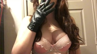 Teen Brunette Babe Mistress Smoking in Black Leather Gloves and Pink Bra