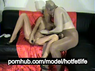 Encasement Pantyhose Couple Hardcore Sex And Shiny Sheer Nylon Face