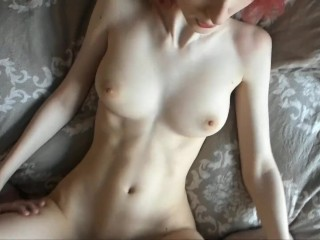 Amateur redhead with big tits fucked hard in missionary, cum on tits