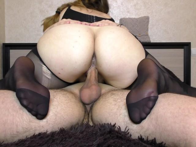 Teen Big Ass in Pantyhose Get Fucked Pussy - Handjob, Cum on Feet