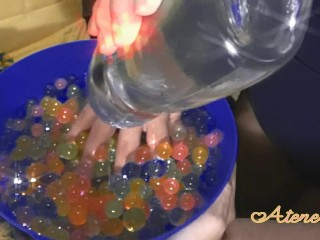 Sensitive handjob with oil and water balls // MASSIVECUM \\