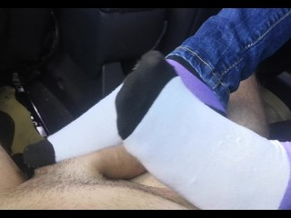 Mother/in car and sockjob and