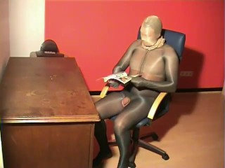 Total Shiny Pantyhose Nylon Encased Couple Office Fetish Fuck Stockings