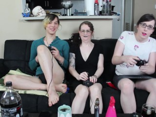 2 hot Tgirls team up on big titty MILF after she loses a video game bet