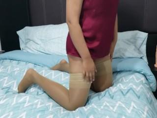 big white cock worship and dildo handjob. Custom video by Anny Kitty