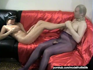 Total Nylon Encasement Handjob And Pantyhose Masked Blowjob And Cumshot