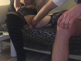 Escort girl fisting deep missionary fuck rough cowgirl ride with creampie