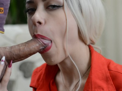 Gentle Red Lips and Wet Blowjob With Cum in Mouth - Monacharm