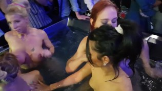 4 Girls in action at the Prague Erotic Festival, hot pool