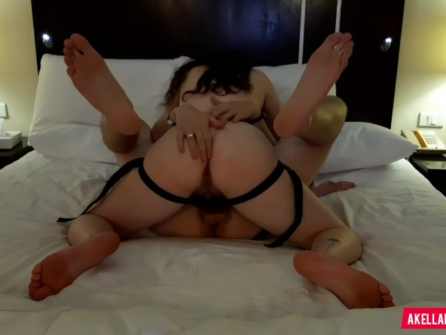 Hot Brunette Teen Amateur Pegging His Ass With Love - Beautiful Strapon Cum