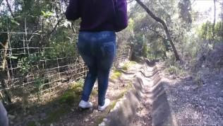Cute teen leggins walk , piss , groping POV