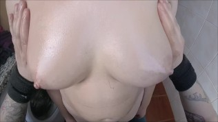 POV Teen boobs oiled & groping