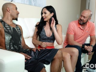 Ariana Marie takes BBC and a big load in front of her REAL husband !!!