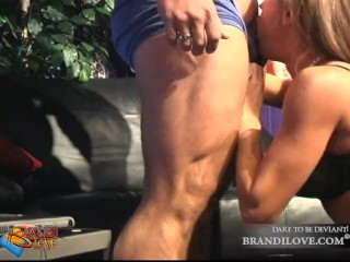 Brandi Love gives guy an amazing blowjob and gets cum on her face!